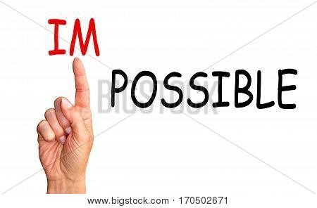 Possible instead impossible - index finger with text