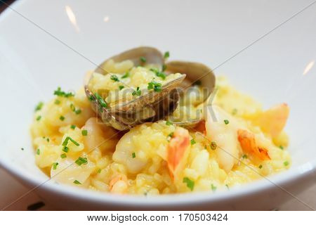 Saffron risotto with clams and prawns in white plate, close-up