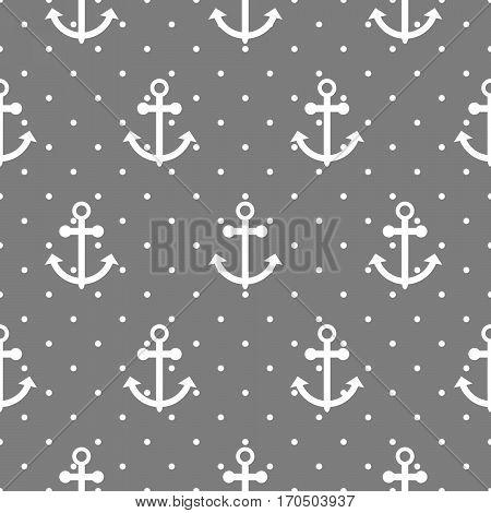Seamless vector pattern with nautical anchors. Sea theme grey and white anchor dotted repeat background.