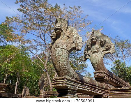 Naga Sculptures at the Staircase of Phimai Historical Park in Nakhon Ratchasima Province, Thailand