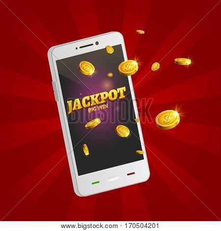 Jackpot money smart phone coins big win. Big income earn mobile technology.