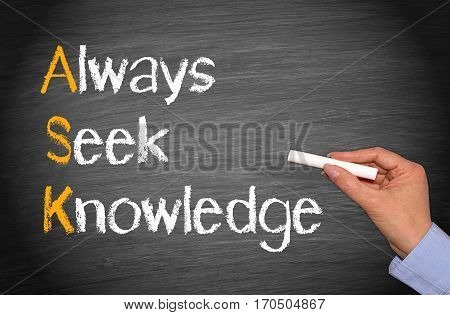 ASK - Always Seek Knowledge - chalkboard with hand and text