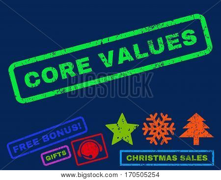 Core Values text rubber seal stamp watermark with additional bonus christmas symbols. Caption inside rectangular banner with grunge design and unclean texture.