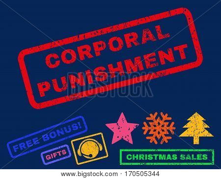 Corporal Punishment text rubber seal stamp watermark with bonus christmas symbols. Tag inside rectangular banner with grunge design and dirty texture.