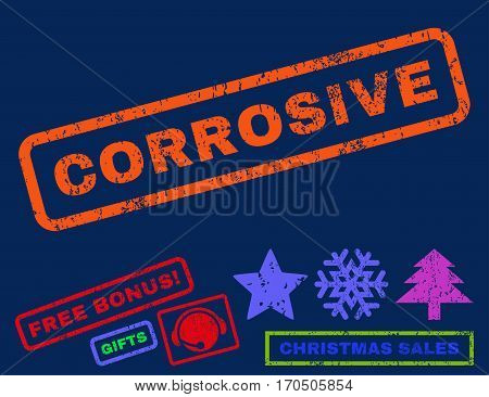 Corrosive text rubber seal stamp watermark with additional bonus new year symbols. Caption inside rectangular shape with grunge design and unclean texture.