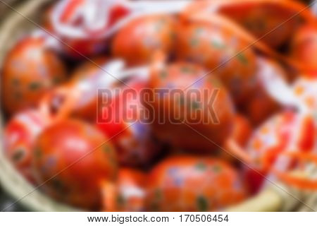 Many Easter eggs. Blurred celebratory background. Blur. Blurry backgrounds.