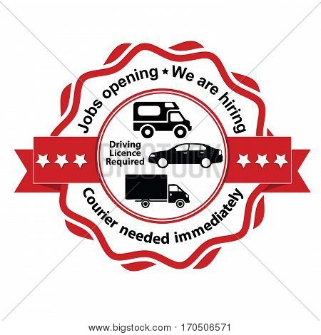 Courier wanted, Job Openings, We are Hiring - business label / ribbon. Print colors used