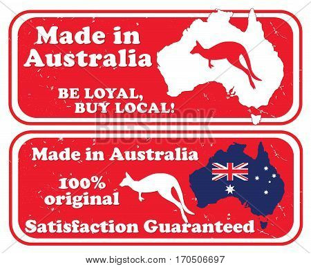 Made in Australia, Be loyal buy local - grunge printable stamps