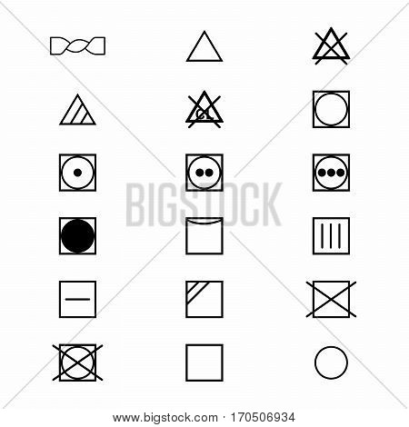 Laundry symbols and icons set 2 of 3 . Vector design isolated on white background.