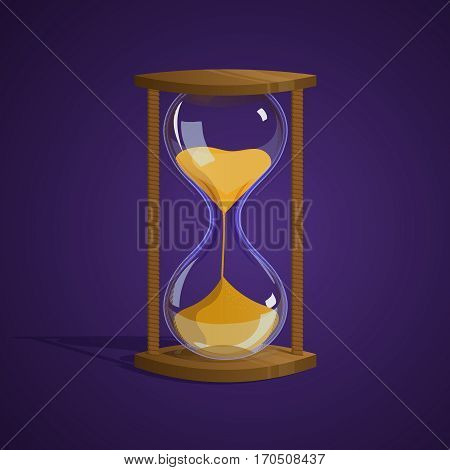 Shiny hourglass. Time. Icon Game Illustration Vector