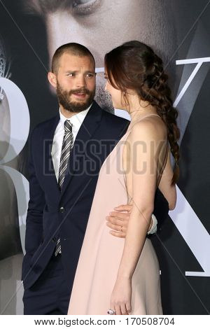 LOS ANGELES - FEB 2:  Jamie Dornan, Dakota Johnson at the