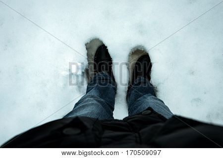 Boots in snow high quality and high resolution shoot