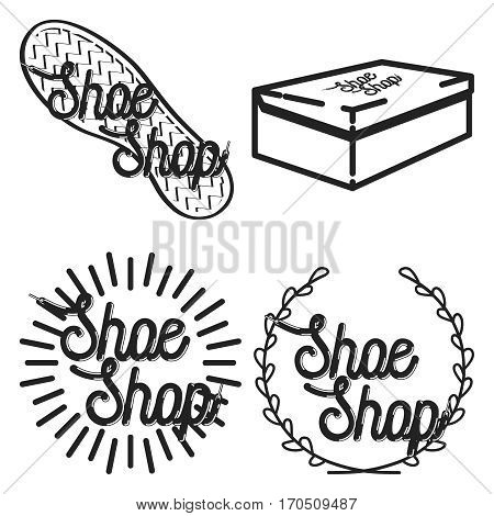 Color vintage shoe shop emblems, labels, badges and design elements. Vector illustration, EPS 10