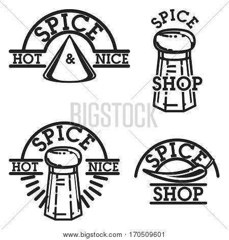 Color vintage spice shop emblems. Stylish design with sketch illustration of spice