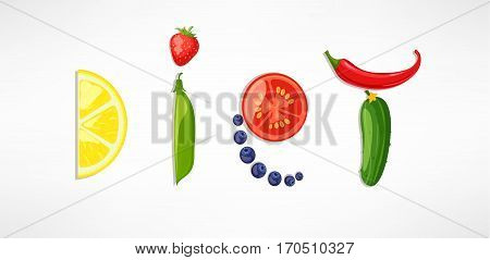 The concept of diet, nutrition, healthy lifestyles - a plate with the word diet with fruits, vegetables, berries. Vector design for diet menu, cafe, restaurant.