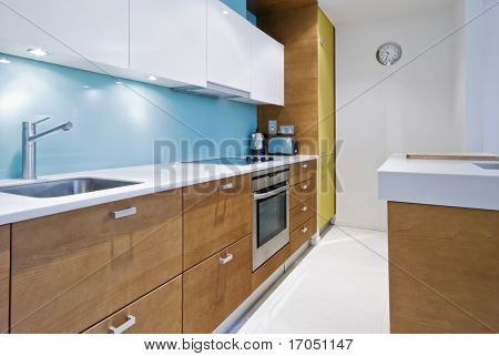 colorful contemporary kitchen with modern electric appliances