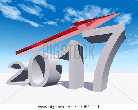 Conceptual 3D illustration red 2017 year symbol an arrow on blue sky background for success growth graph future finance financial new year holiday increase rise date career forecast progress  december