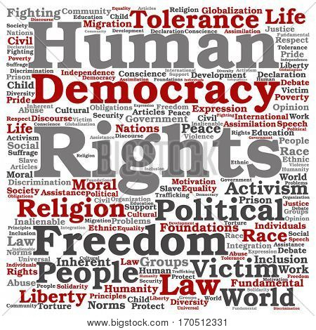Concept or conceptual human rights political freedom or democracy square word cloud isolated on background metaphor to humanity world tolerance, law principles, people justice discrimination