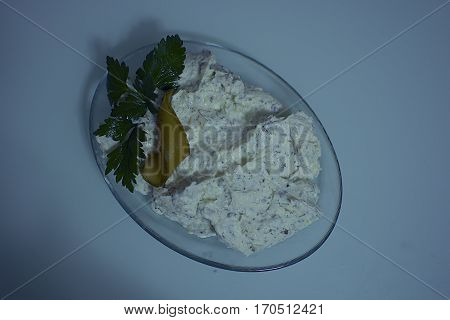 An appetizer of garlic and yogurt. and mint
