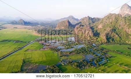 Aerial view of mountain landscape in Hpa-an province, Myanmar