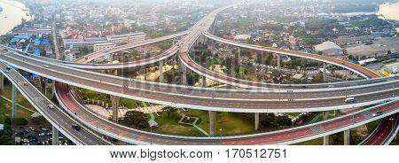 Aerial view of a large road interchange at the Bhumibol bridge in Bangkok, Thailand