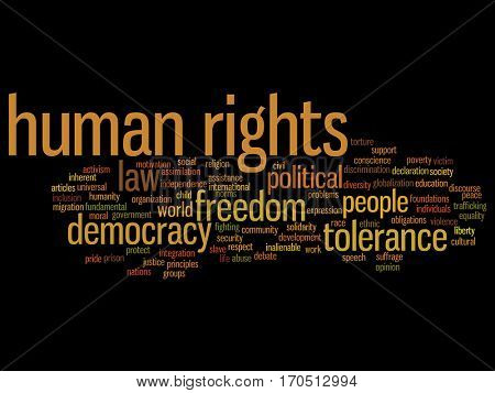 Concept or conceptual human rights political freedom or democracy abstract word cloud isolated on background metaphor to humanity world tolerance, law principles, people justice discrimination