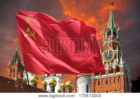 The flag of the Soviet Union waving in the wind