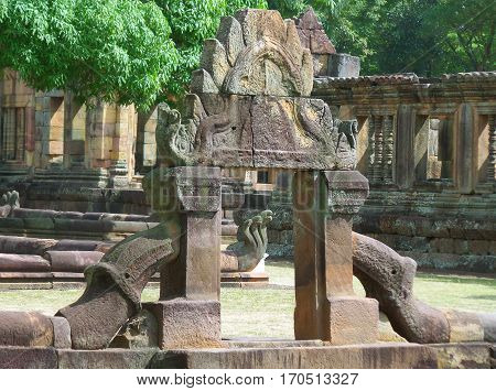 Gorgeous Ancient Arch of the Lotus Pond at Prasat Hin Muang Tam Temple Complex, Buriram Province of Thailand