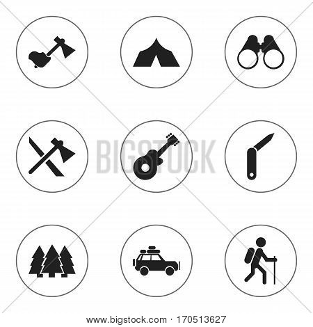 Set Of 9 Editable Trip Icons. Includes Symbols Such As Refuge, Clasp-Knife, Tomahawk And More. Can Be Used For Web, Mobile, UI And Infographic Design.