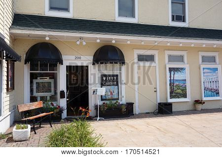 HARBOR SPRINGS, MICHIGAN / UNITED STATES - AUGUST 4, 2016: Tricia Witty sells her paintings at the Witty Art Gallery in downtown Harbor Springs.