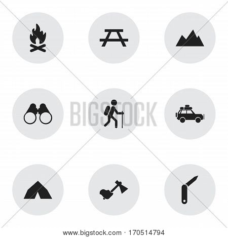 Set Of 9 Editable Travel Icons. Includes Symbols Such As Ax, Clasp-Knife, Field Glasses And More. Can Be Used For Web, Mobile, UI And Infographic Design.