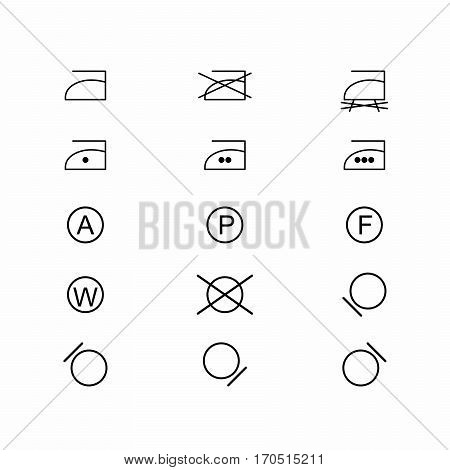 Laundry symbols and icons set 3 of 3 . Vector design isolated on white background.