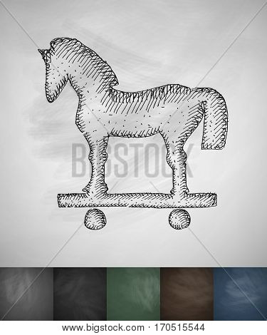 trojan icon. Hand drawn vector illustration. Chalkboard Design
