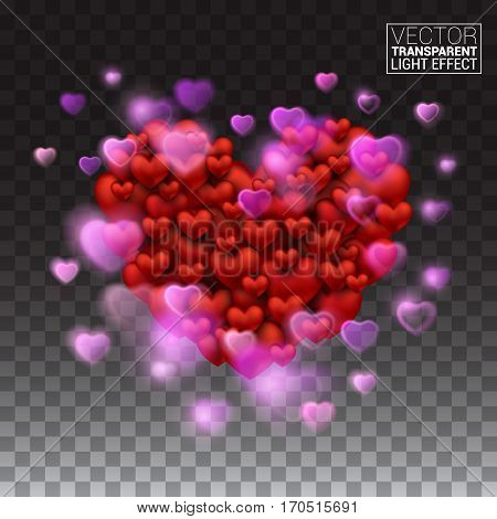 Glow light effect. Abstract Light Heart explosion Shining beautiful valentines day. Vector Illustration on transparent background.