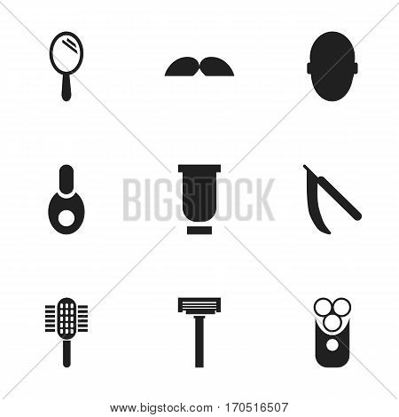Set Of 9 Editable Hairdresser Icons. Includes Symbols Such As Brains, Container, Whiskers And More. Can Be Used For Web, Mobile, UI And Infographic Design.