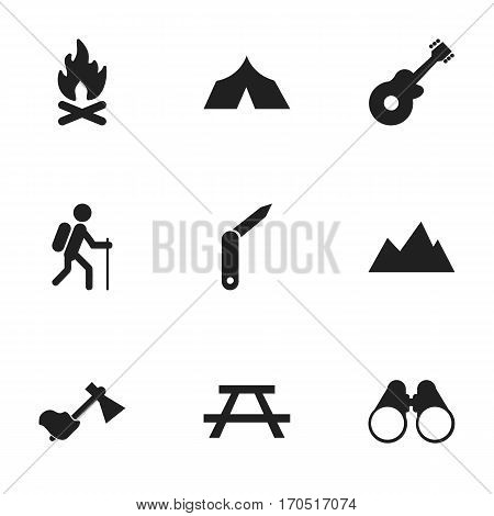 Set Of 9 Editable Trip Icons. Includes Symbols Such As Desk, Clasp-Knife, Musical Instrument And More. Can Be Used For Web, Mobile, UI And Infographic Design.