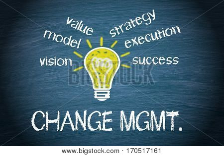 Change Management - light bulb with text on blue background