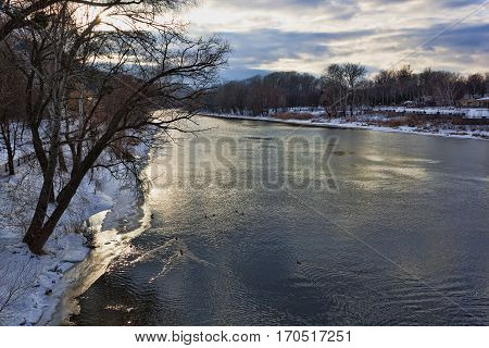 Siversky Donets river in Sviatohirsk winter. View from bridge