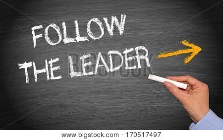 Follow the Leader - female hand with text and arrow