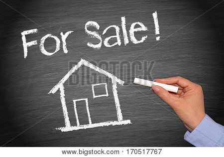 For Sale - Real Estate concept chalkboard with house or home