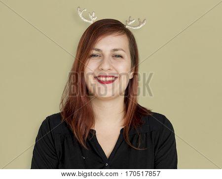 Caucasian Woman Reindeer Headband Smile