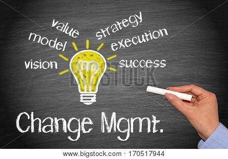 Change Management - light bulb with text on chalkboard background