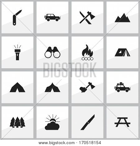 Set Of 16 Editable Travel Icons. Includes Symbols Such As Field Glasses, Desk, Clasp-Knife And More. Can Be Used For Web, Mobile, UI And Infographic Design.