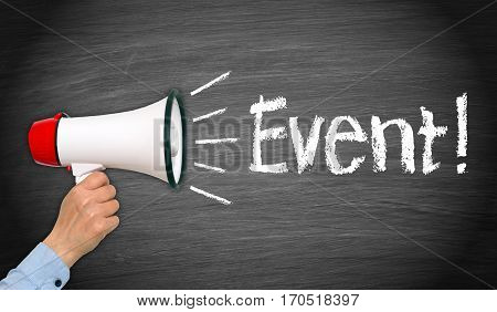 Event - female hand with megaphone and text