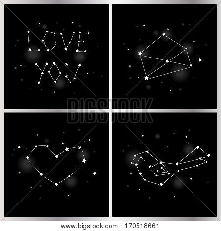 Set of greeting card with star and constellation for Valentine's day. Vector.