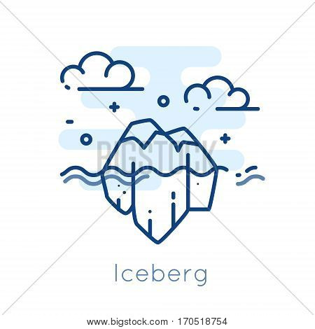 Icon Iceberg on white background. Thin line flat design. Vector.