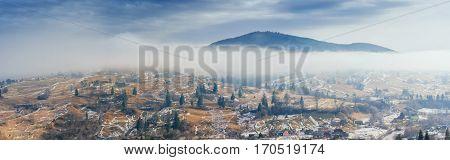 mountain village in the valley. Carpathians Ukraine Europe