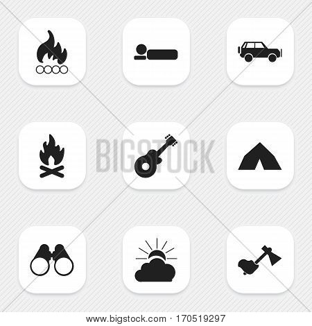 Set Of 9 Editable Trip Icons. Includes Symbols Such As Tepee, Sunrise, Sport Vehicle And More. Can Be Used For Web, Mobile, UI And Infographic Design.
