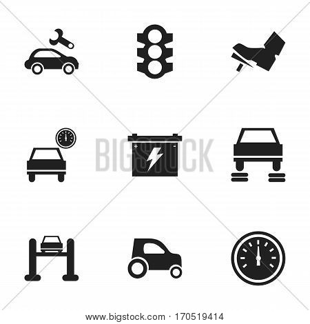 Set Of 9 Editable Vehicle Icons. Includes Symbols Such As Auto Repair, Stoplight, Automotive Fix And More. Can Be Used For Web, Mobile, UI And Infographic Design.