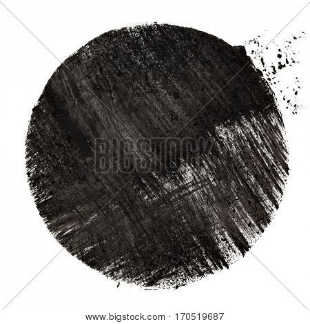 Black stenciled circle with strokes - raster illustration
